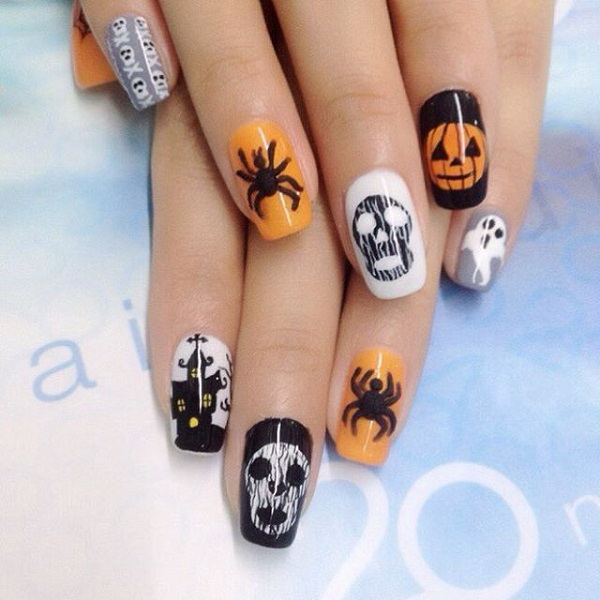 Skeletons, Spiders and Jack O Lantern Halloween Nails.