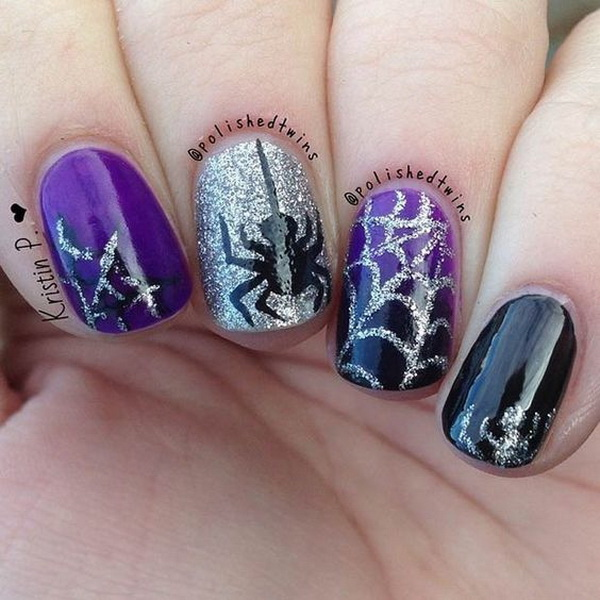 black and purple halloween nail design
