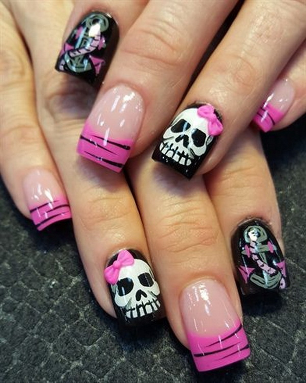 Sugar Skulls Halloween Nail Art - 40+ Cute And Spooky Halloween Nail Art Designs - Listing More