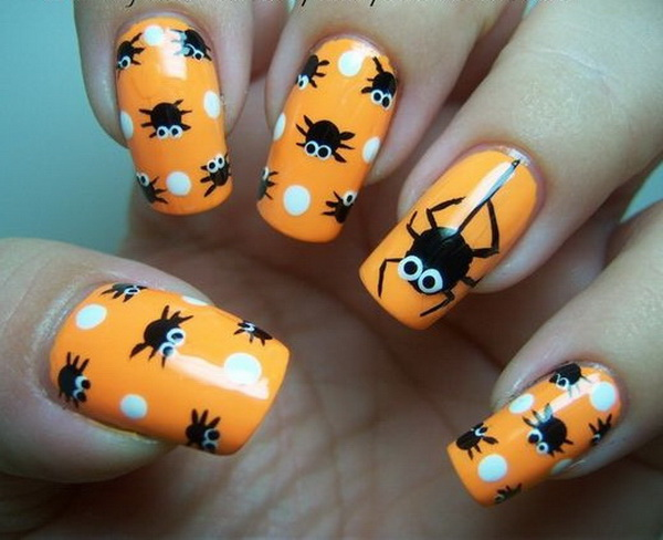 Polka Dot Spiders Halloween Design - 40+ Cute And Spooky Halloween Nail Art Designs - Listing More