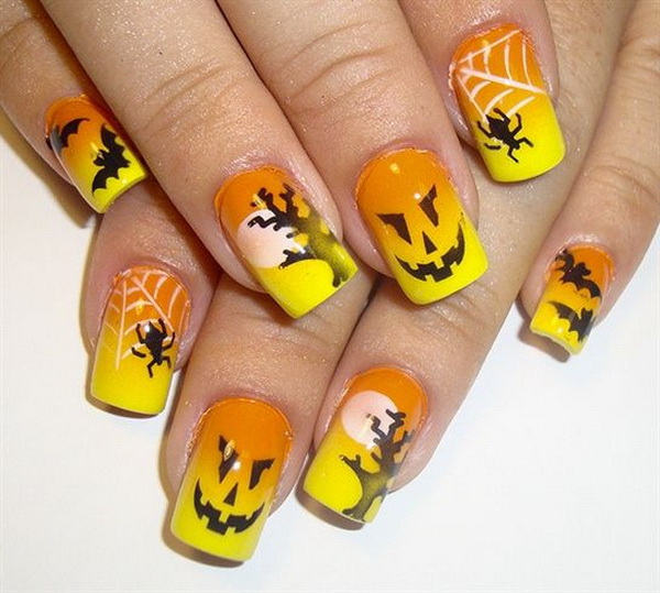 Bright Halloween And Fall Nail Art.