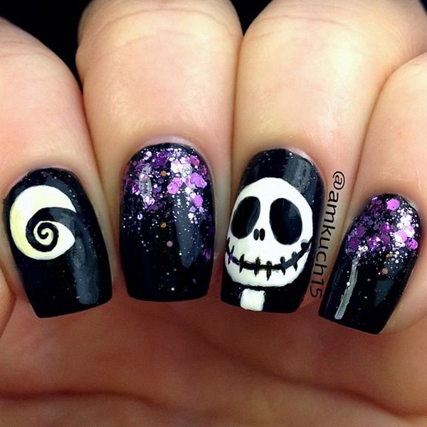 Black and White Halloween Nail Topped with Purple Sequins - 40+ Cute And Spooky Halloween Nail Art Designs - Listing More