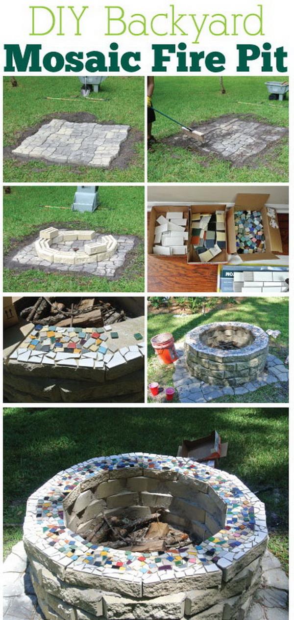diy backyard mosaic fire pit