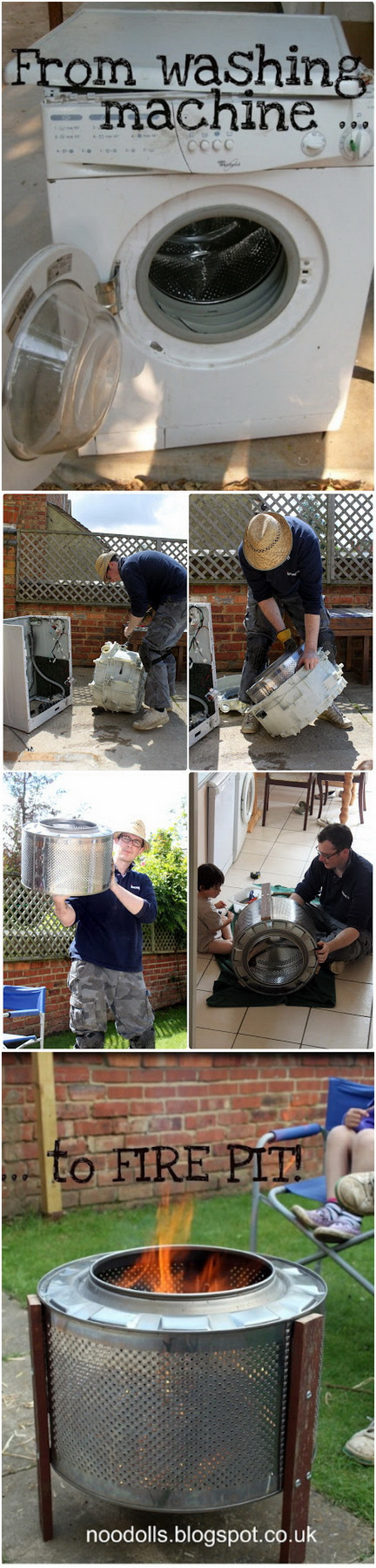 Homemade Fire Pit: Up-cycled Washing Machine.