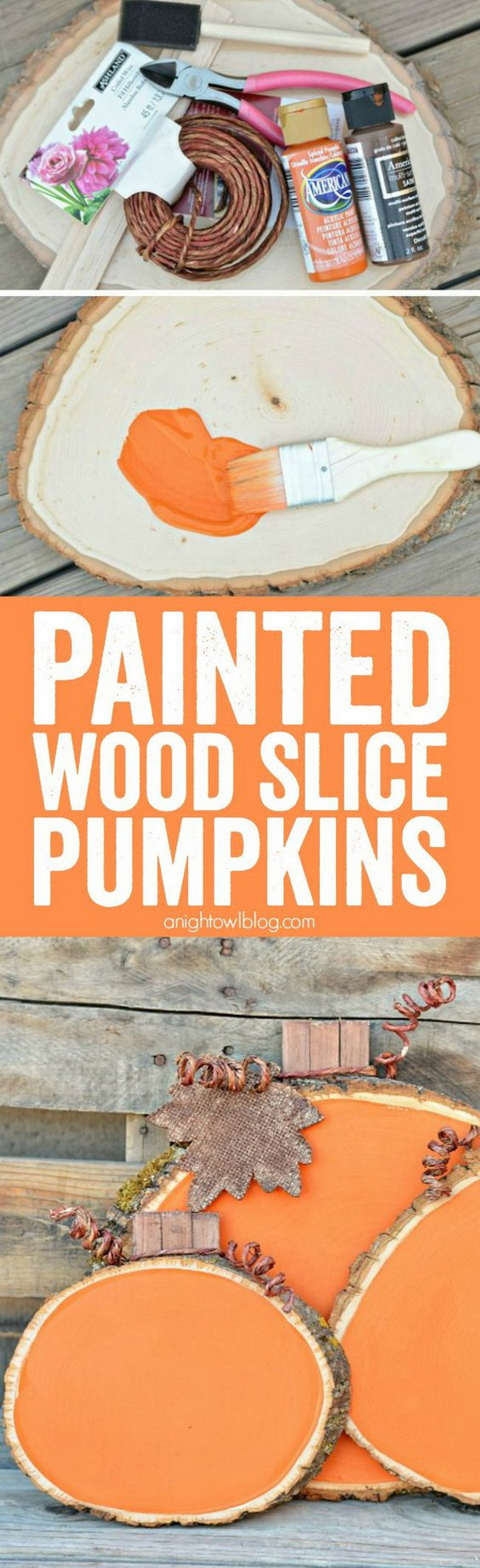Painted Wood Slice Pumpkins. Add some color and whimsy to your fall Decor with these easy and adorable Painted Wood Slice Pumpkins!