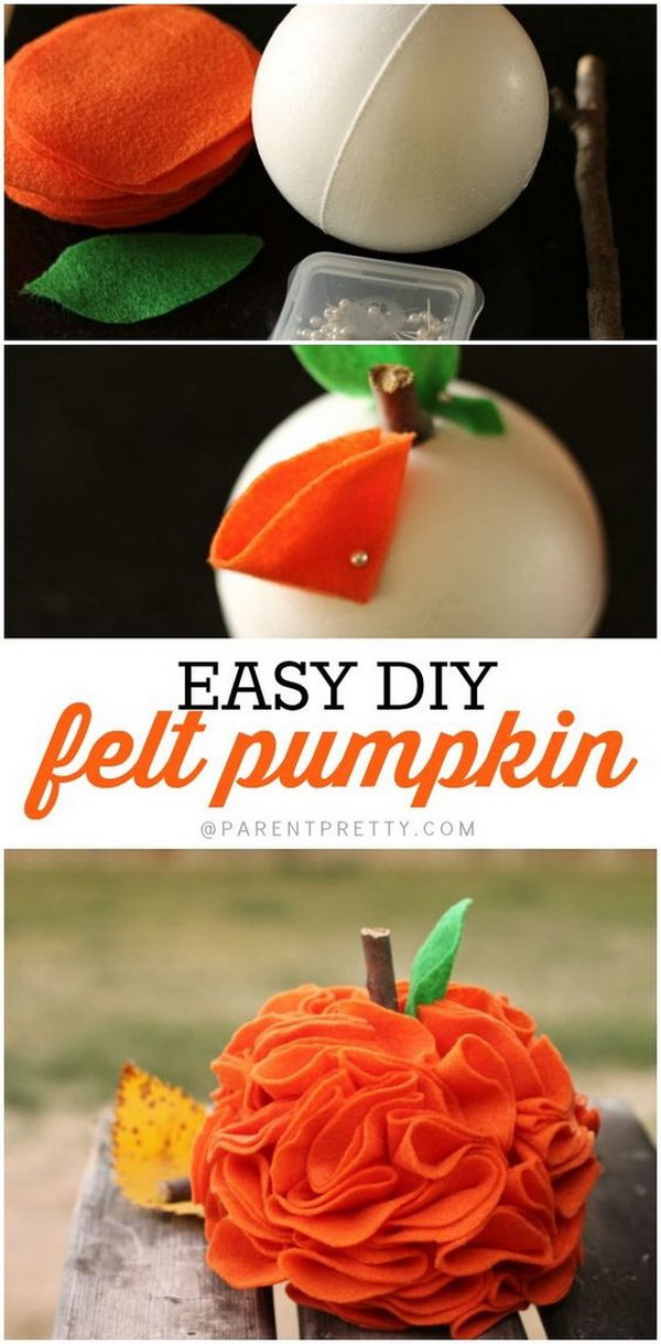 DIY Felt Pumpkins. These adorable felt pumpkins would be the perfect starter project for your table decoration for your fall or Halloween parties. Look so cute and also so simple to make and will make such an adorable addition to your fall decor!