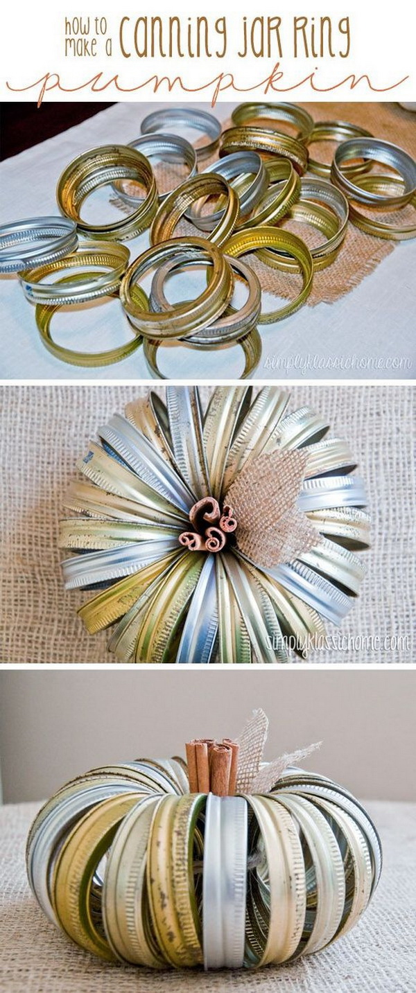 Canning Jar Lid Pumpkins. Don't throw out those old canning jar rings! You can repurpose them into these simple and unique handmade pumpkins for your fall home dacor!