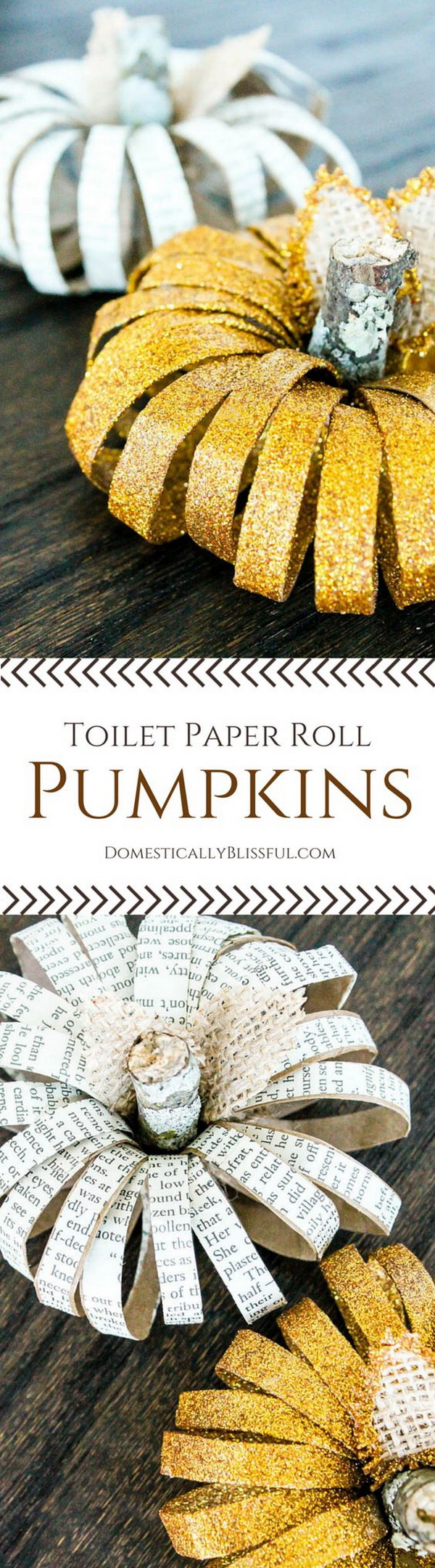 DIY Paper Roll Pumpkins. Repurpose some old bookpages into these fun and easy pumpkin crafts and finished with some gold glitters. Super easy and fun craft for your kids to make together.
