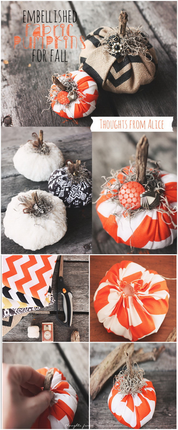 DIY Embellished Fabric Pumpkins for Fall. These easy fabric pumpkins embellished with bohemian flair are perfect for not only Halloween but to keep out all Fall!