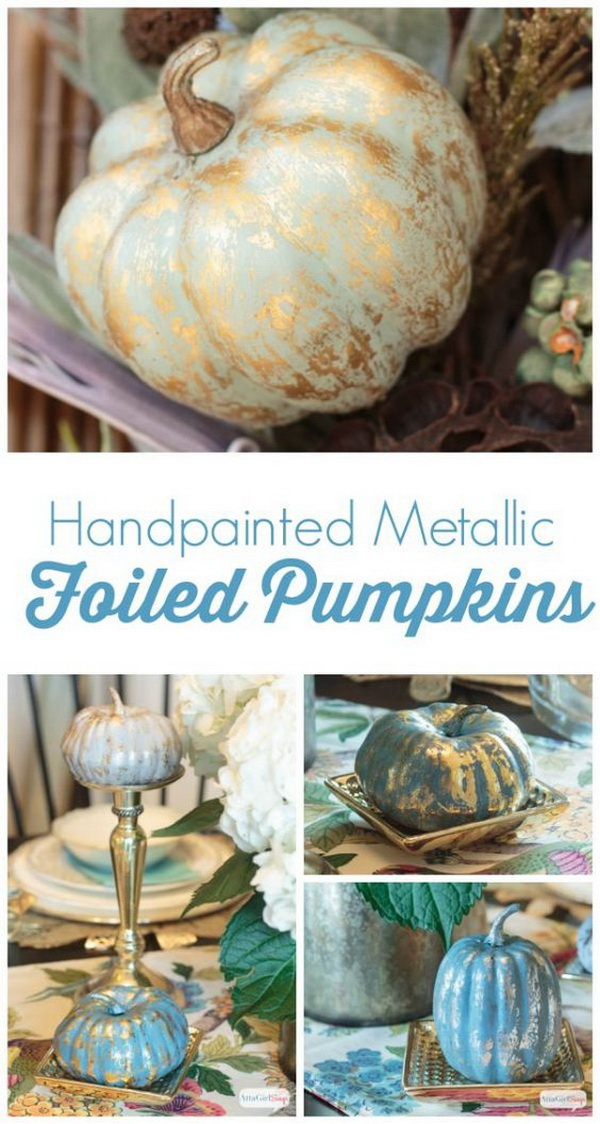 Painted Metallic Foiled Pumpkins. Love the distressed metallic look of these painted pumpkins. It makes fantastic addition to your farmhouse or shabby chic home decor for this halloween or fall season.