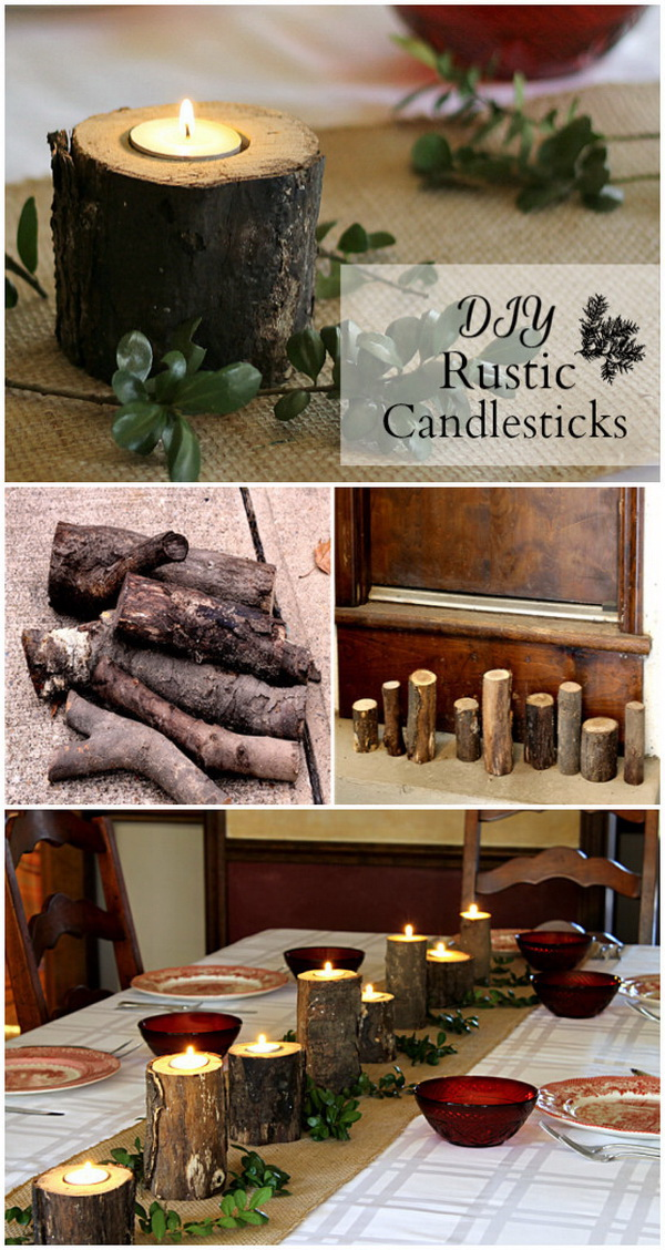 Rustic Log Candlesticks. Add the rustic charm and decorative touch to your indoor & outdoor spaces with these DIY log candlesticks.