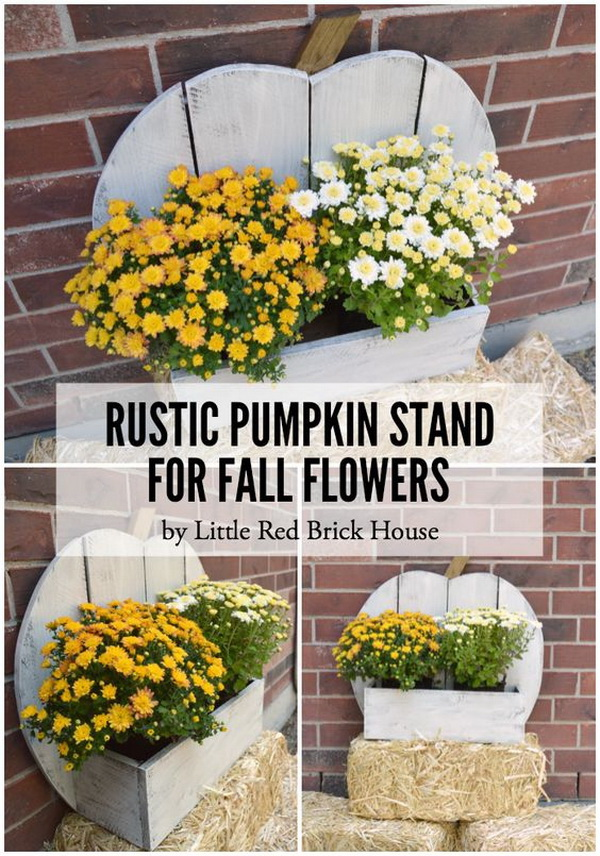 Rustic Pumpkin Stand for Fall Flowers. Decorate your front porch with this easy DIY Rustic Pumpkin Stand and fill the box with colorful fall flowers!
