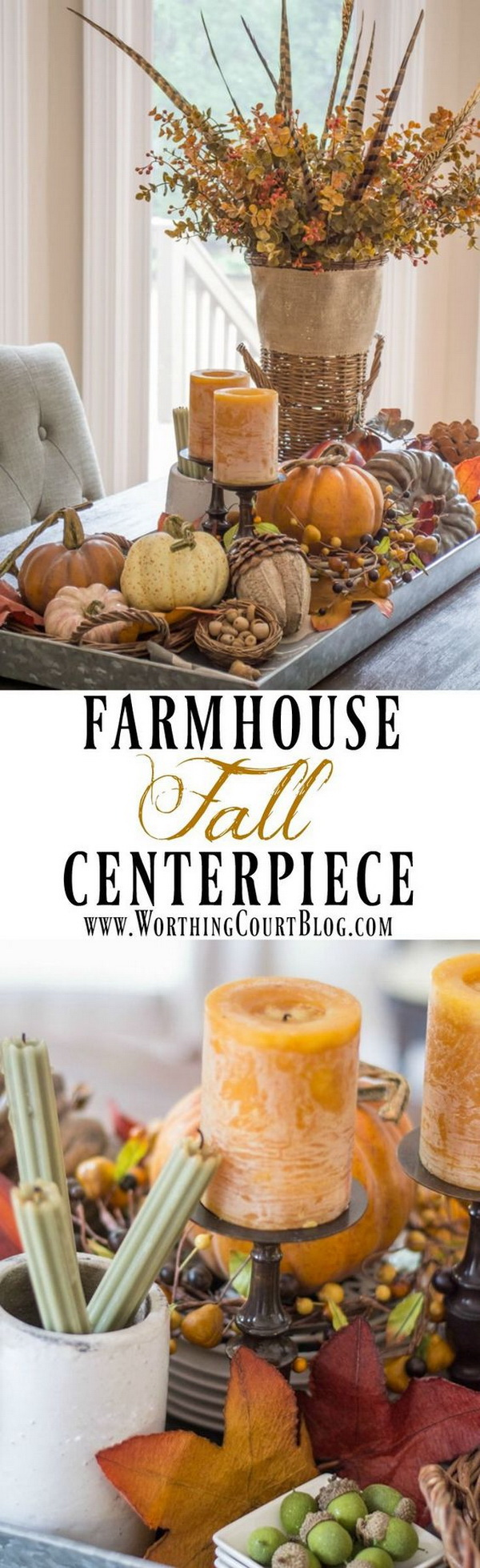 Rustic Farmhouse Fall Centerpiece. Get a galvanized metal tray filled with fall textures and colors. This will be the the perfect rustic farmhouse fall centerpiece.