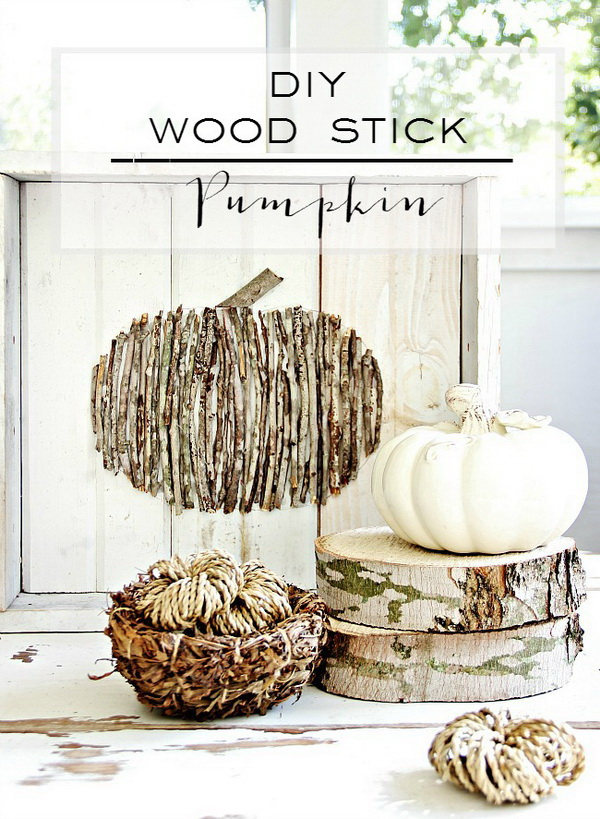 DIY Wood Stick Pumpkin. Create this easy, simple fall project just with some sticks from the yard. It only takes you 20 minutes to make!