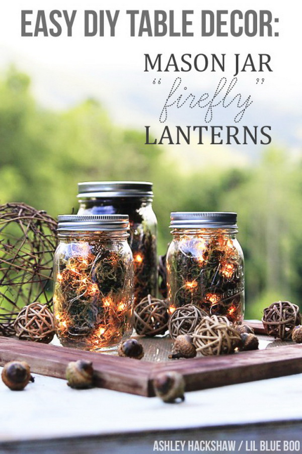 Mason Jar Firefly Lanterns. Use dried moss, acorns, and string lights to craft these rustic lanterns, perfect for cool evenings spent outside during this fall season.