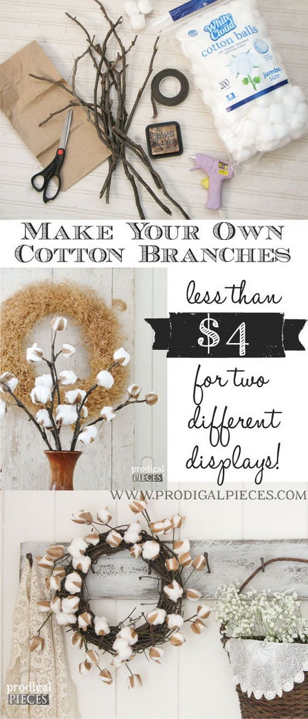 DIY Farmhouse Cotton Branches. Whether bundle these cotton branches up in a tall vase or arrange them into a wreath. This will surely add a touch of rustic elegance to your decor.