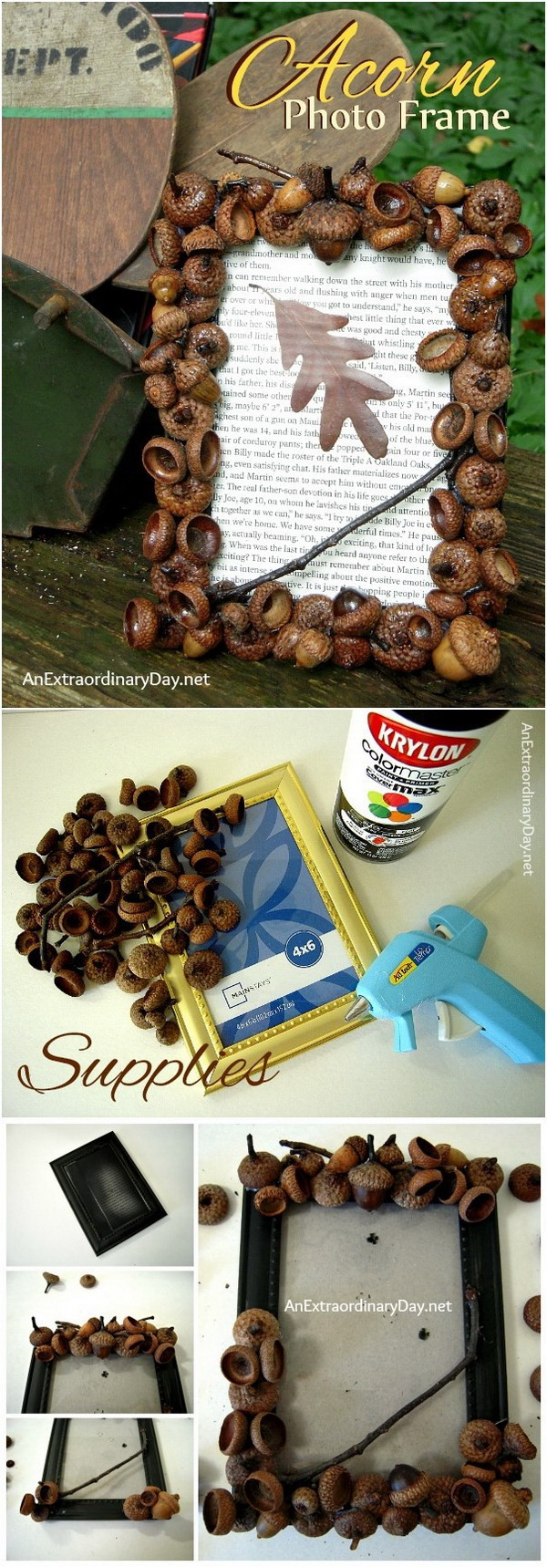 DIY Acorn Photo Frame. Create a DIY Acorn Photo Frame with that plethora of acorns in the yard. It makes great home decor piece or used as gifts with a fall family photo.