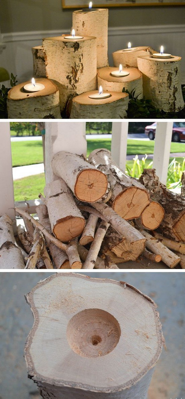 DIY Tree Stump Candle Holders. Carve out the center of tree stumps big enough and place a candle inside, and light them up for a whimsical decor for this fall.