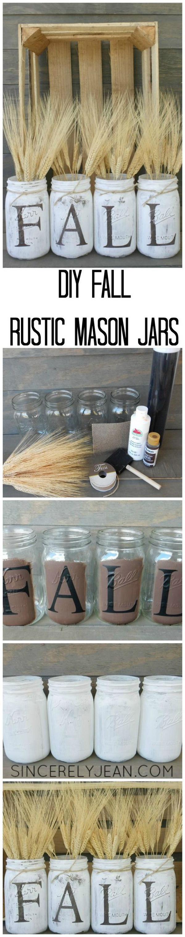 DIY Fall Rustic Mason Jars. Paint and distress mason jars and filled with whea! So easy and quick to do and makes a great addition to your fall decoration with rustic flair.