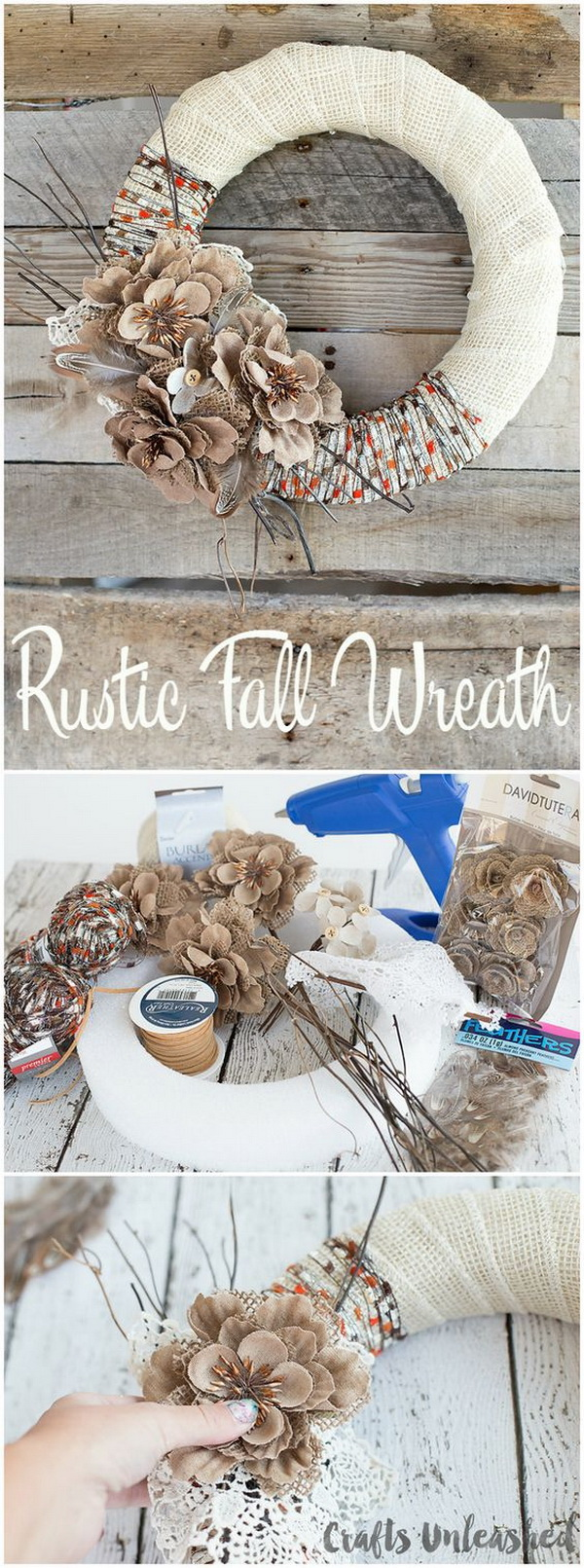 DIY Rustic Burlap & Yarn Fall Wreath. Create this easy and lovely rustic fall wreath with a few fun accessories around your house or some findings from the dollar store.