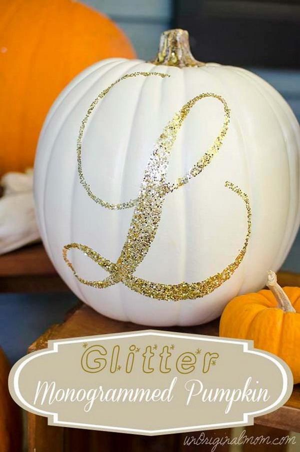 Glitter Monogrammed Pumpkin.