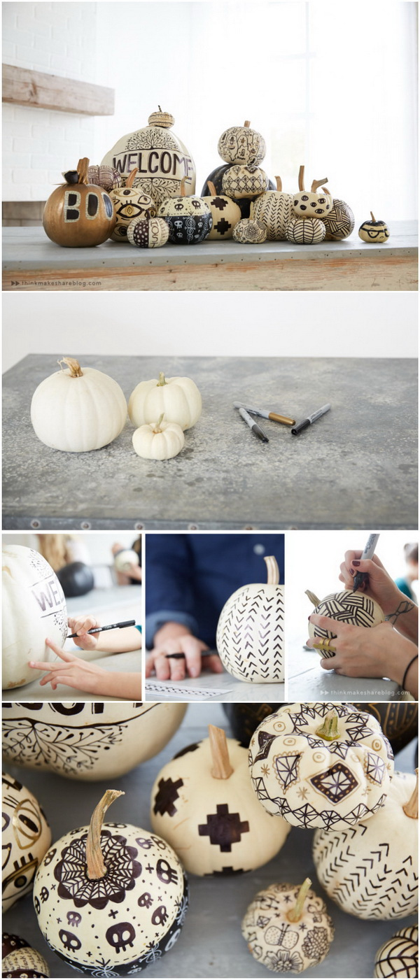 Pumpkin Decorating With A Monochromatic Twist.