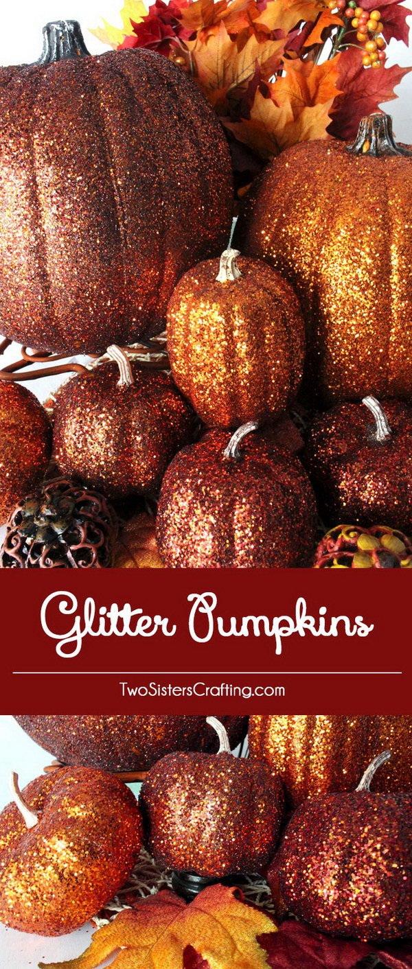 DIY Glitter Pumpkins.