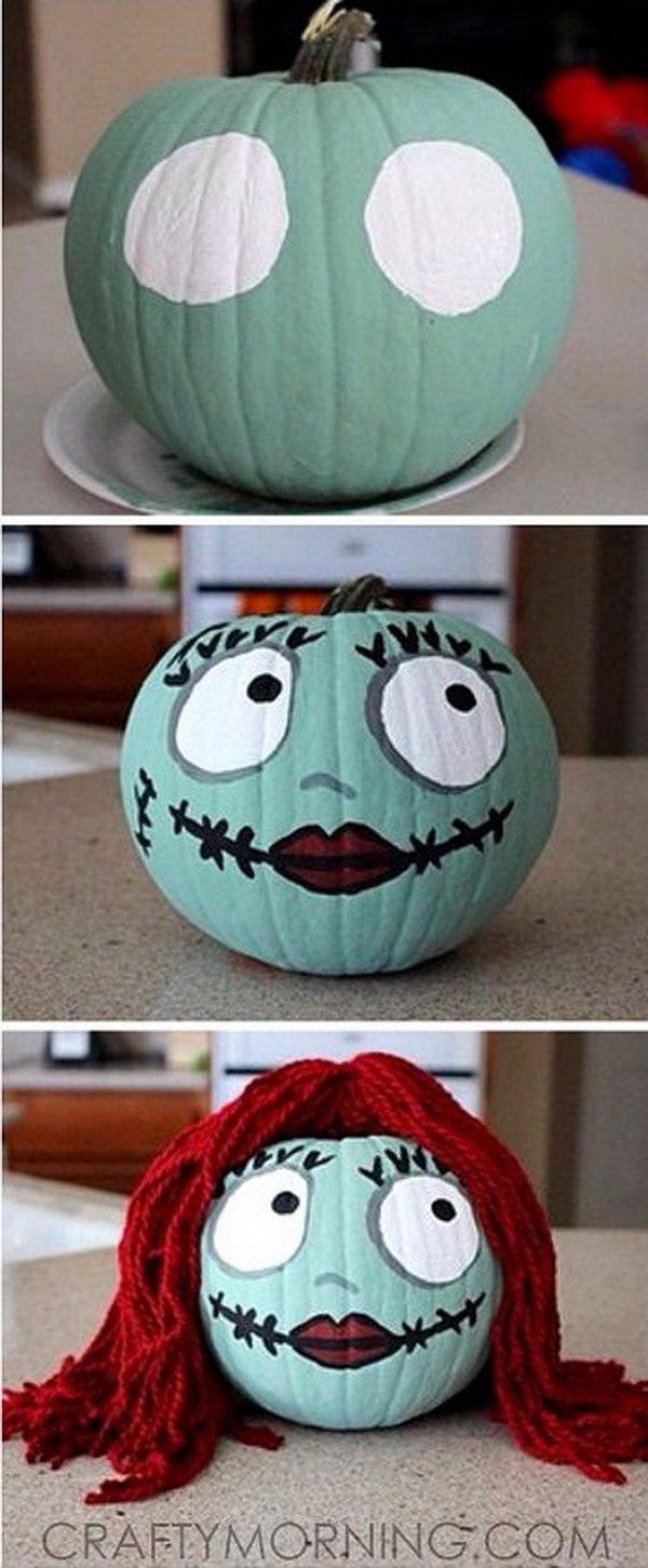 Sally Skellington No-Carve Pumpkin for Halloween.