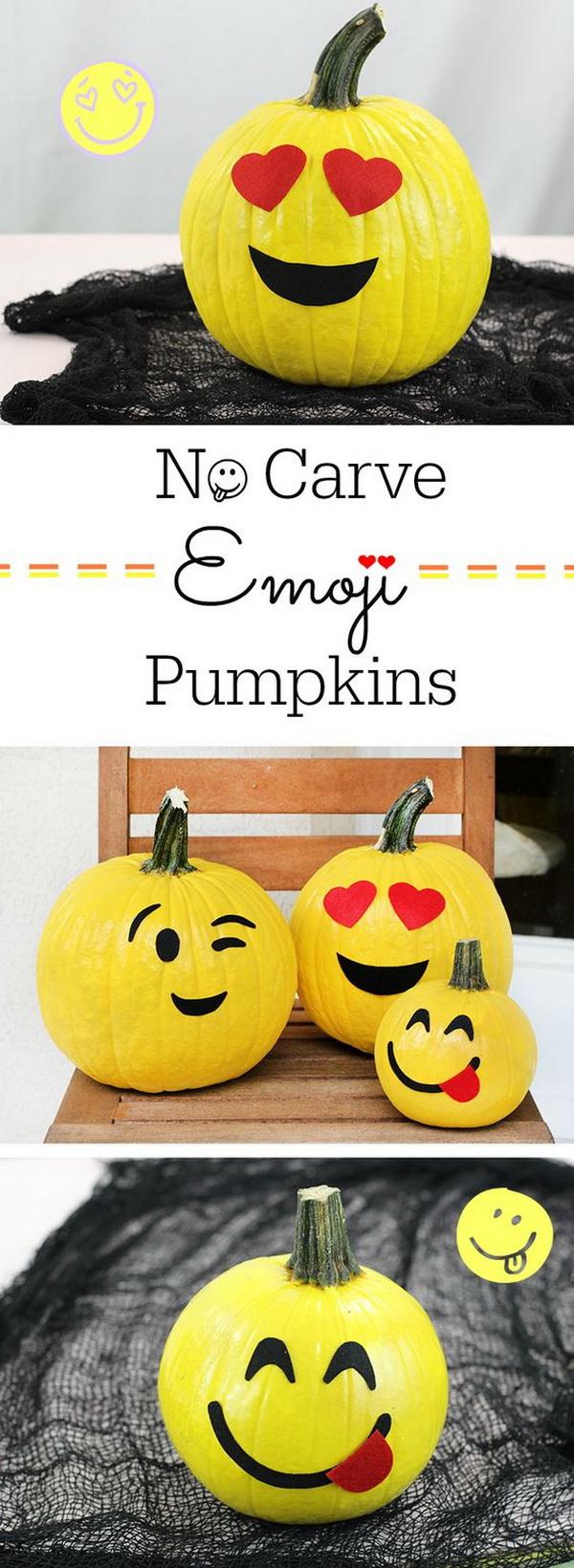 No Carve Emoji Pumpkins.