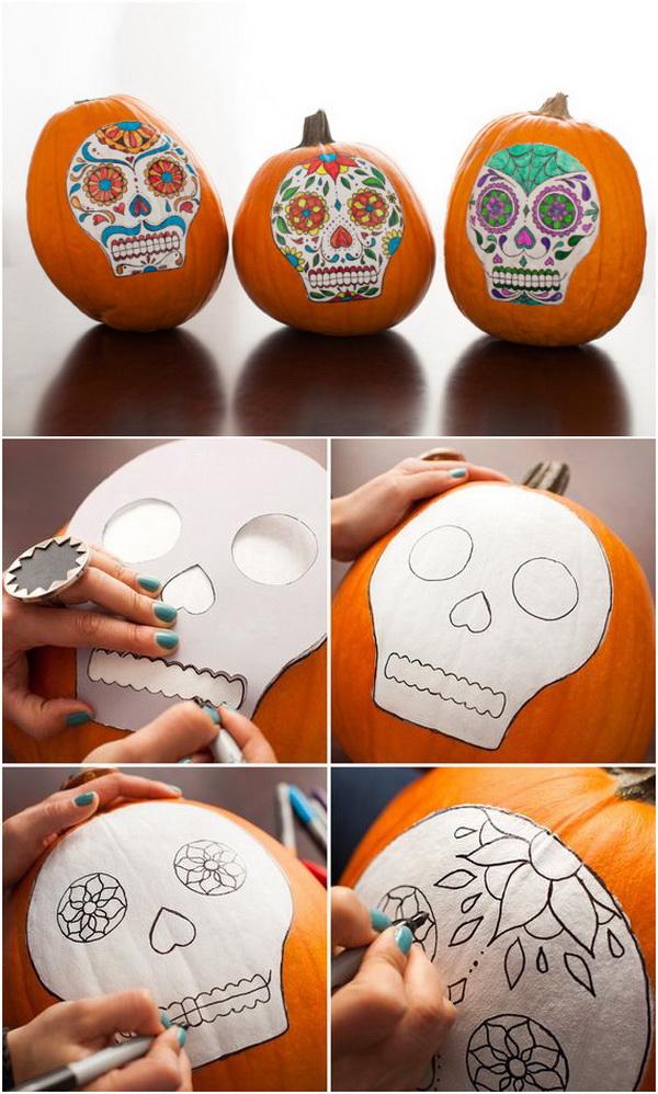 No-Carve Sugar Skull Pumpkins.