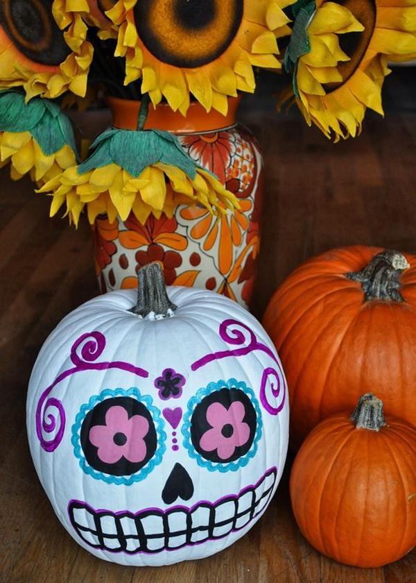 Day Of The Dead Sugar Skull Pumpkins.