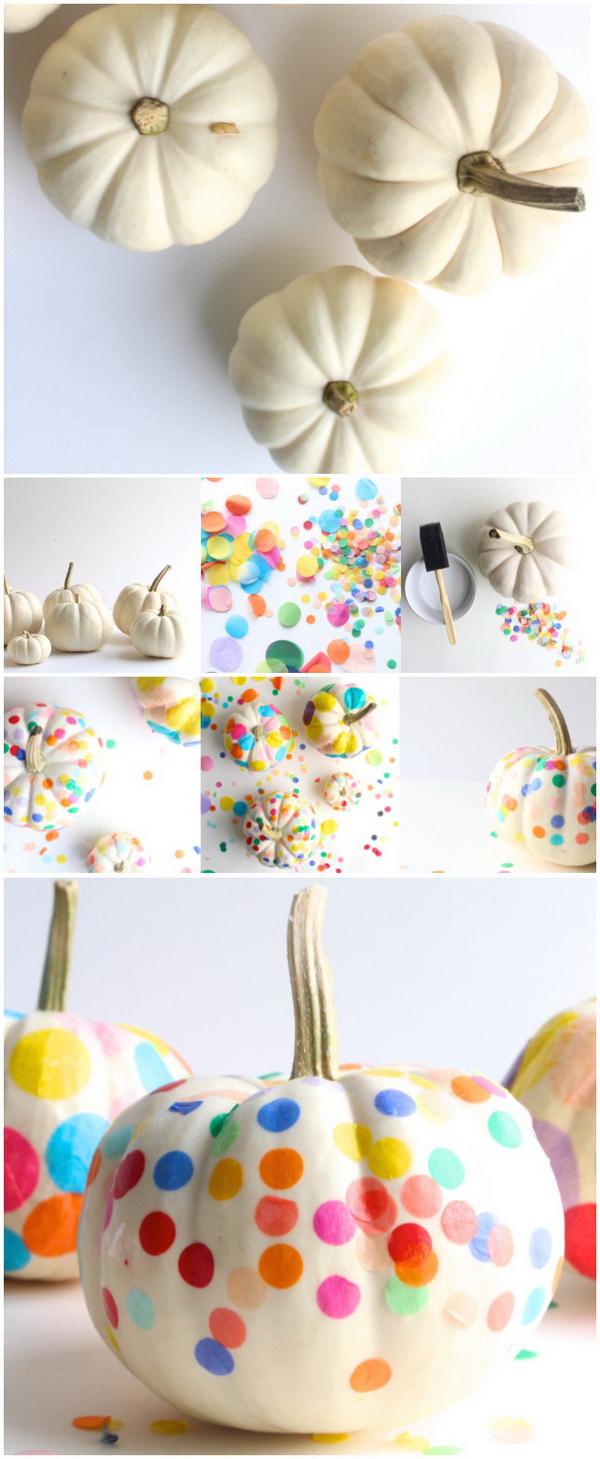 Colorful Confetti Pumpkins.