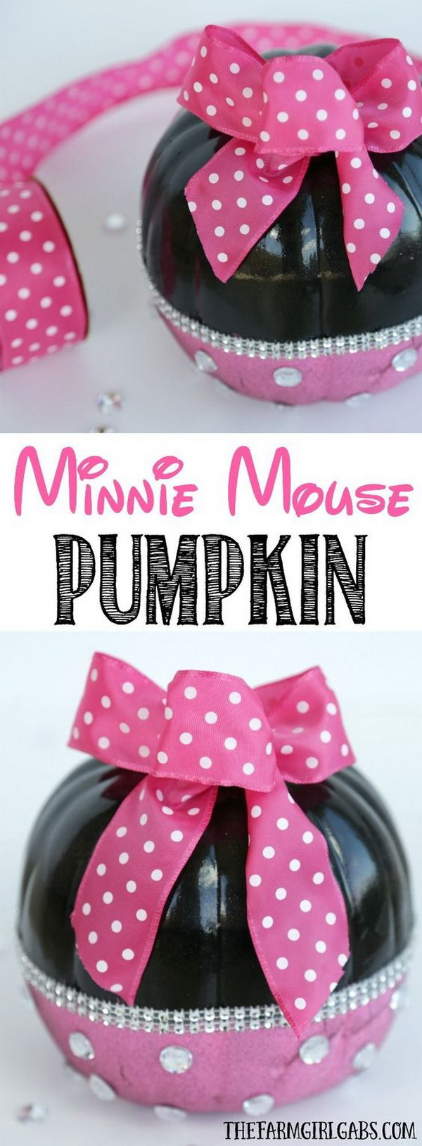 DIY Minnie Mouse Pumpkins.