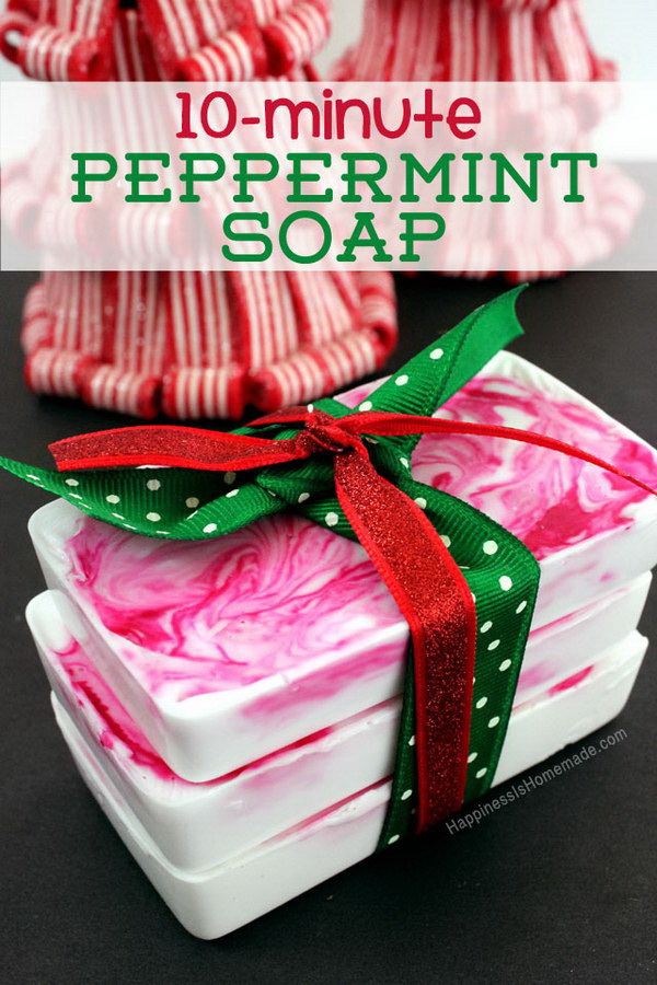Homemade Peppermint Soap. Homemade beauty products always make perfect DIY gifts for friends, neighbors and teachers.