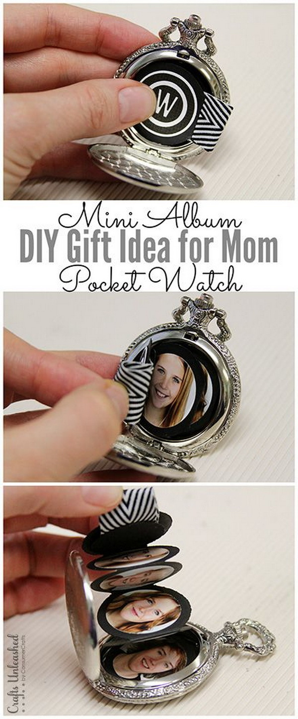 DIY Mini Album in a Pocket Watch. This DIY gift for mom mini album project makes a fun gift  for grandmothers too, or really anyone who would like a unique way to display some precious photos.