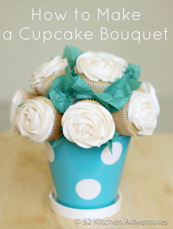Homamde Cupcake Bouquet. Creative and unique way to combine food and flowers together in your gift giving! This homemade cupcake bouquet would be a lovely gift for Mother's Day.