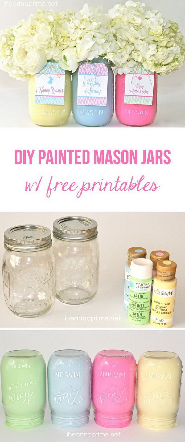 DIY Painted Mason Jars with Flowers. These cute & simple, painted mason jars with fresh flowers in are both perfect for the table centerpieces or used as given gifts for Mother's Day.