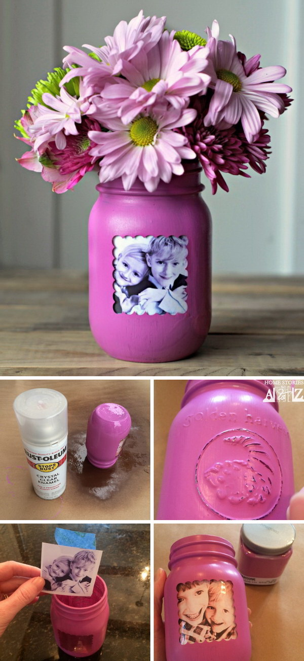 Mason Jar Picture Frame Vase. Another creative way to give gifts with photos with these mason jar phoot vases!