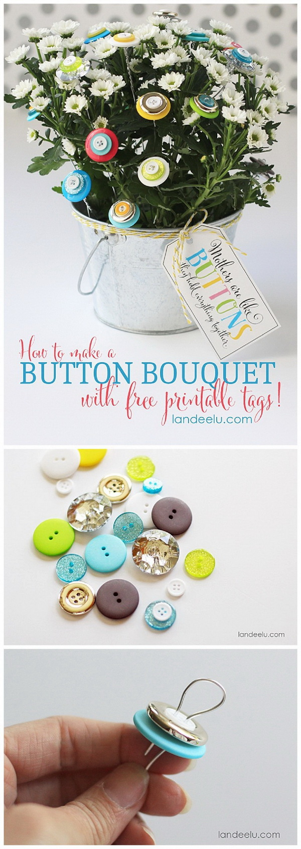 DIY Button Bouquet. Button bouquets are relatively easy and inexpensive to make yourself. Collect a selection of new and vintage buttons and start to make one of your own.