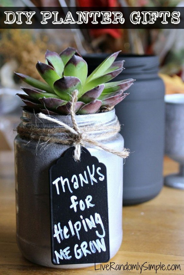 DIY Succulent Mason Jar Gift. This DIY succulent mason jar makes great teachers gift, mothers day gift, or just a simple Thank You gift.
