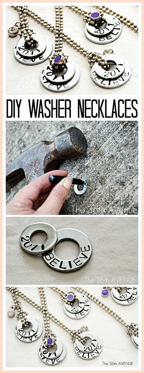 DIY Hand Stamped Washer Necklaces. These stamped washer necklaces are perfect for gifts simple to make and easy to customized with sayings, names, and more!