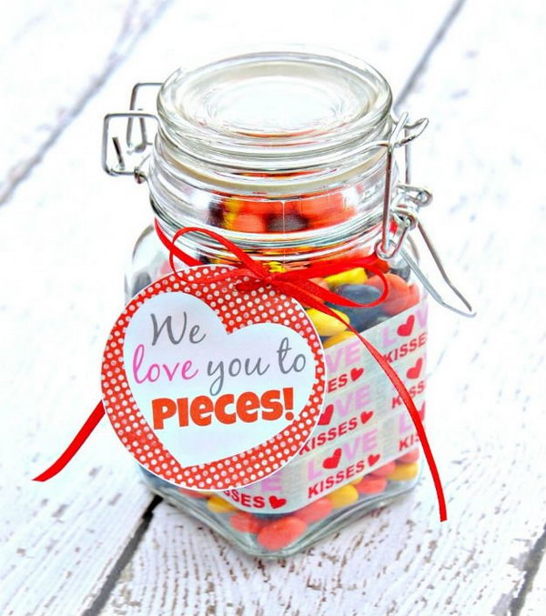 "Sweet Jar of Treats. Show how you love your mom with this sweet jar of treats labeled ""We love you to pieces!"""