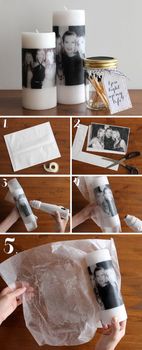 DIY Photo Candles For Mom. Make a memorable and special personalized gift for Mom this Mother's Day by making this easy DIY photo candle.