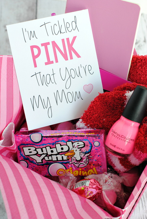 Tickled Pink Gift Basket. If your mom is a pink lover, nothing will be better than this tickled pink gift basket for her this holiday!