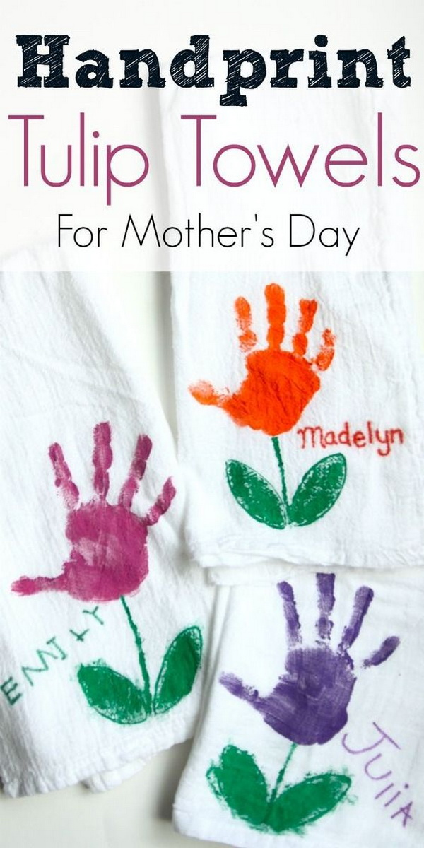 Handprint Tulip Towels for Mom. Super easy and inexpensive, yet still adorable and practical gift for kids to make for mother's day.