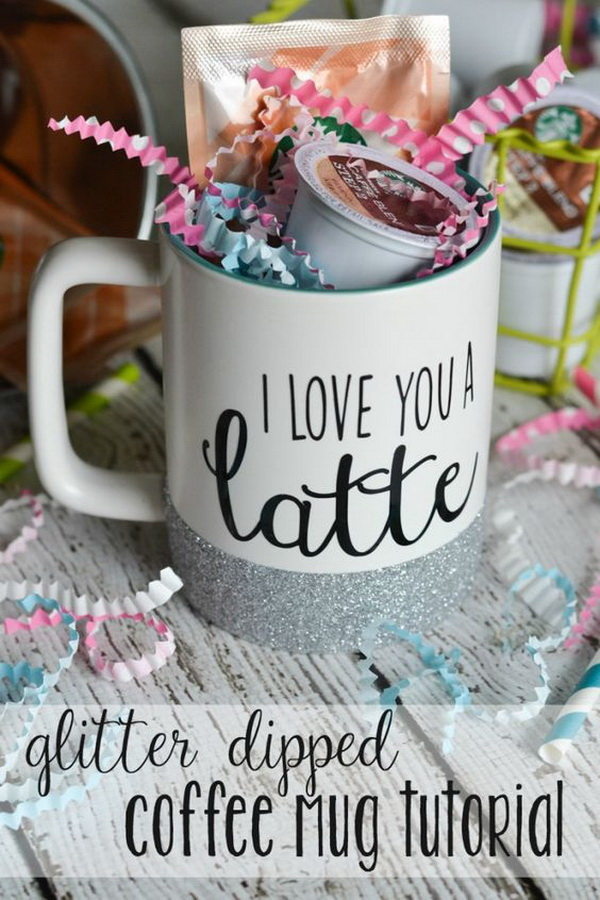 Glitter Dipped Coffee Mug. Inexpensive, personalized  coffee mug that makes a beautiful and unique Mother's Day gift! It's super easy to make with several supplies around you!