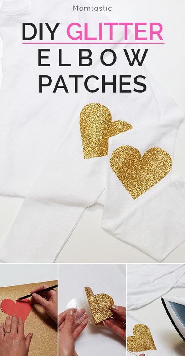 DIY Elbow Glitter Patches. Add a little sparkle to any piece of clothing or accessory! These DIY glitter heart elbow patches will turn any plain tee into a fun piece you'll want to wear all the time!