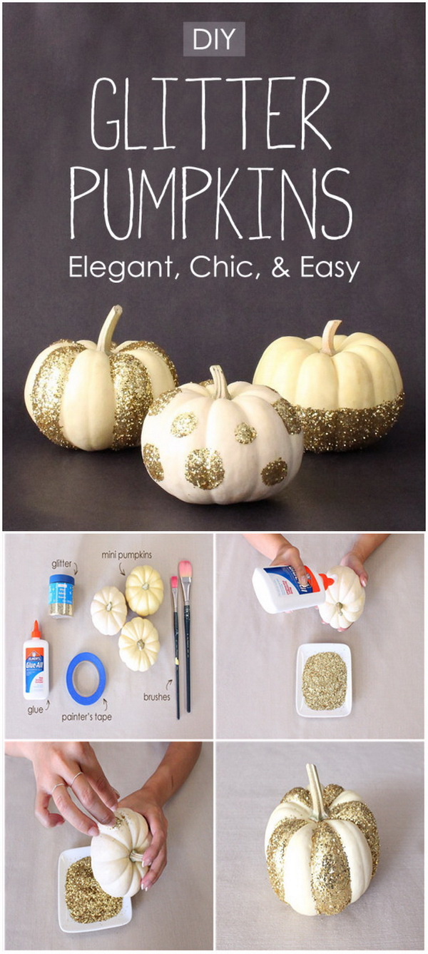 DIY Glitter Pumpkins. An easy and sparkly DIY project to add some rustic glam to your mantel this fall!