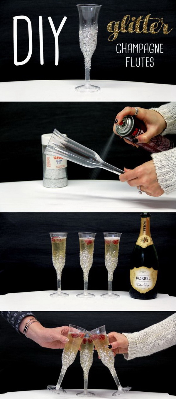 DIY Glitter Champagne Flutes. These glitter champagne flutes will surely make your holiday party a little fancier. They are also easy and affordable to make by yourself.