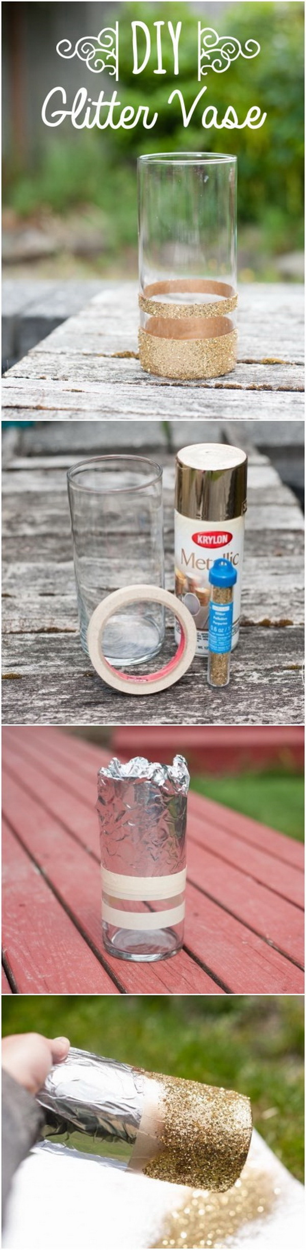 DIY Glitter Vase. Turn an ordinary vase into an extraordinary glittery vase! Beautiful centerpiece vase for the New Year's Eve party or any occasion.
